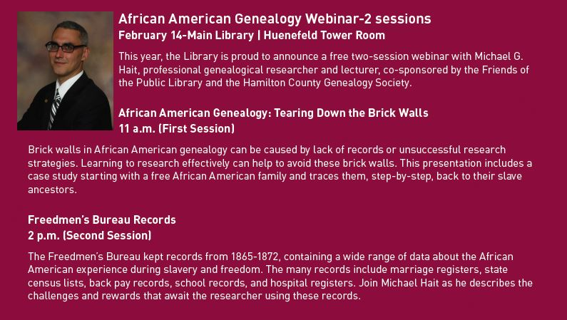 African American Webinars at the Main Library